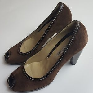 Via Spiga Dark Brown Suede High Heels